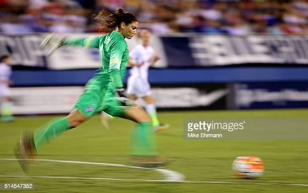 Hope Solo of the United States kicks during a match against Germany in the 2016 SheBelieves Cup at FAU Stadium on March 9 2016 in Boca Raton Florida