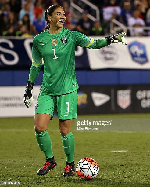 Hope Solo of the United States looks on during a match against Germany in the 2016 SheBelieves Cup at FAU Stadium on March 9 2016 in Boca Raton...