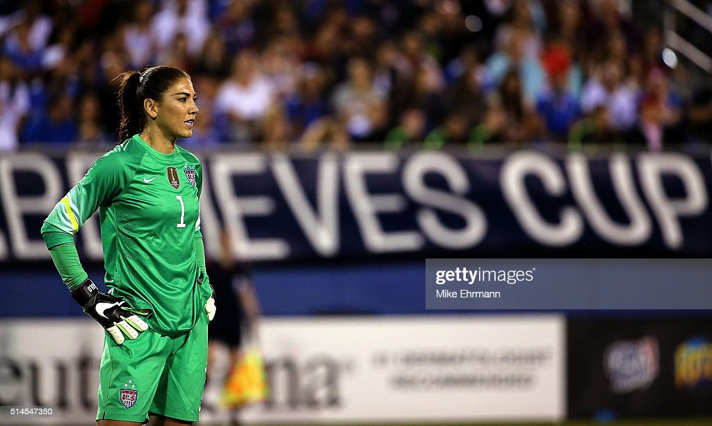 Hope Solo #1 of the United States looks on during a match against Germany in the 2016 SheBelieves Cup at FAU Stadium on March 9, 2016 in Boca Raton, Florida.