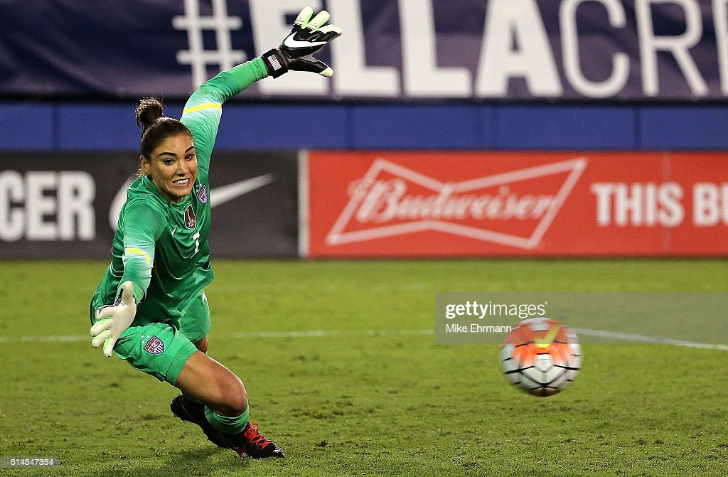 Hope Solo #1 of the United States mkaes a save during a match against Germany in the 2016 SheBelieves Cup at FAU Stadium on March 9, 2016 in Boca Raton, Florida.