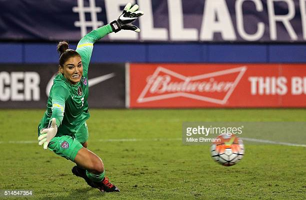 Hope Solo of the United States mkaes a save during a match against Germany in the 2016 SheBelieves Cup at FAU Stadium on March 9, 2016 in Boca Raton,...