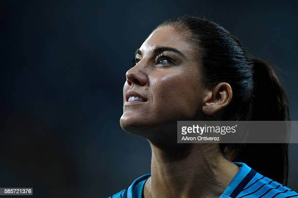 Hope Solo of the United States smiles after the second half of the United States' 20 first round Rio 2016 group G match win over New Zealand