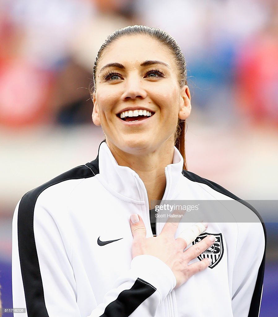 Hope Solo #1 of the United States waits on the field prior to start of the game between the United States and Canada during the Championship final of the 2016 CONCACAF Women's Olympic Qualifying at BBVA Compass Stadium on February 21, 2016 in Houston, Texas.
