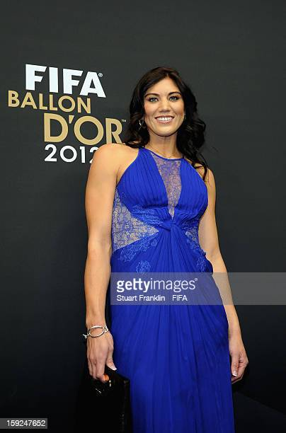 Hope Solo of the USA arrives on the red carpet during the FIFA Ballon d'Or Gala 2012 at the Kongresshaus on January 7 2013 in Zurich Switzerland