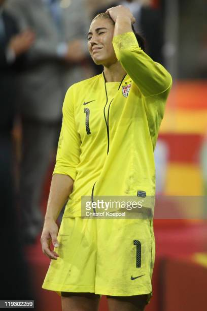 Hope Solo of the USA looks dejected after losing 35 after penalty shootout the FIFA Women's World Cup Final match between Japan and USA at the FIFA...