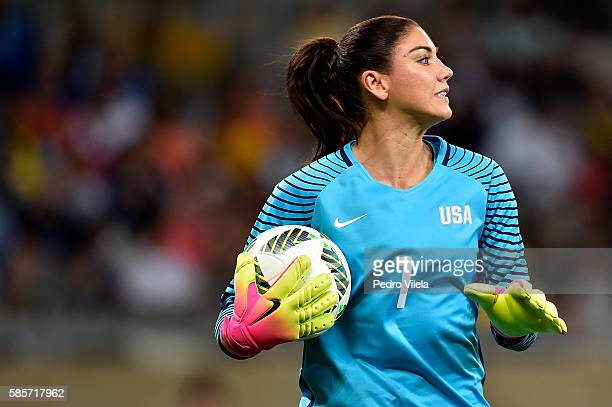 Hope Solo of United States looks on during the Women's Group G first round match between the United States and New Zealand during the Rio 2016...