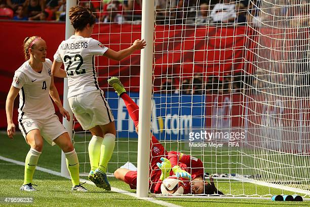 Hope Solo of United States of America allows a goal during the second half of the FIFA Women's World Cup 2015 final match between USA and Japan at BC...