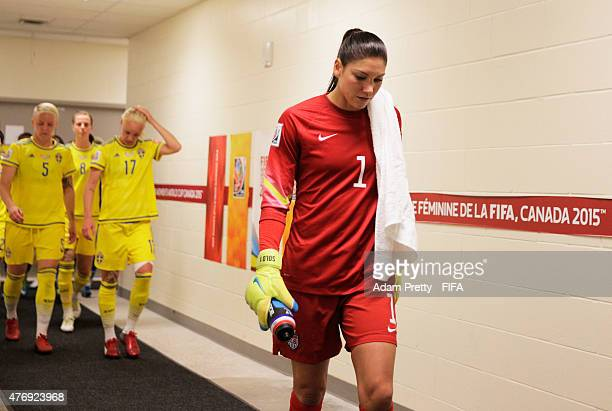 Hope Solo of United States of America walks back to the pitch after half time during the Group D match between United States of America and Sweden of...