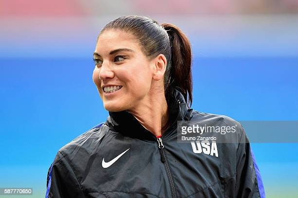 Hope Solo of United States prepares for their game against Colombia in the Women's Football First Round Group G match on Day 4 of the Rio 2016...