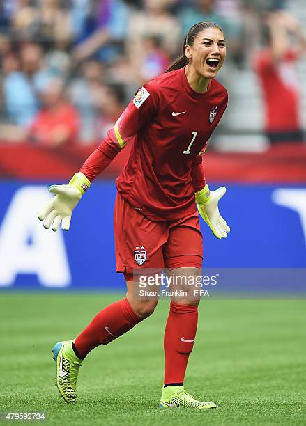 Hope Solo of USA celebrates during the FIFA Women's World Cup Final between USA and Japan at BC Place Stadium on July 5 2015 in Vancouver Canada