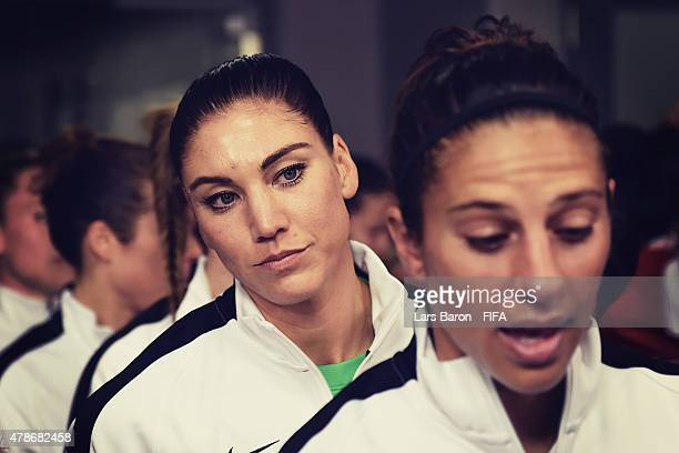 Hope Solo of USA looks on in the tunnel prior to the FIFA Women's World Cup 2015 Quarter Final match between China and United States at Lansdowne...