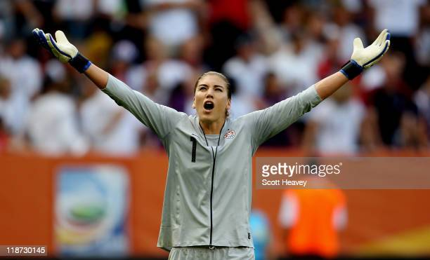 Hope Solo of USA reacts after conceding their first goal during the Women's World Cup Quarter Final match between Brazil and USA at RudolfHarbig...