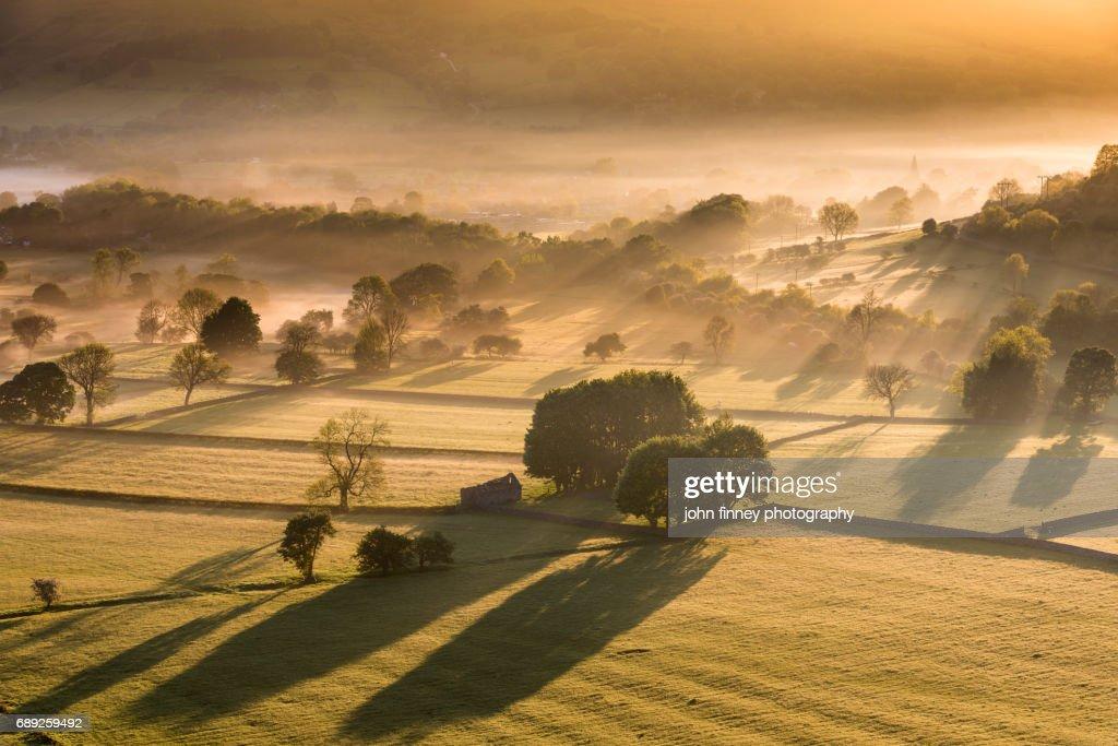 Hope sunrise. English Peak District National Park. UK. : Stock Photo