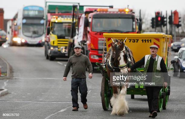 Hope the Shire horse led by Wynne Hull and owner of Salford Skip Hire Tony Cauchi at the front of a goslow protest against rising fuel costs between...