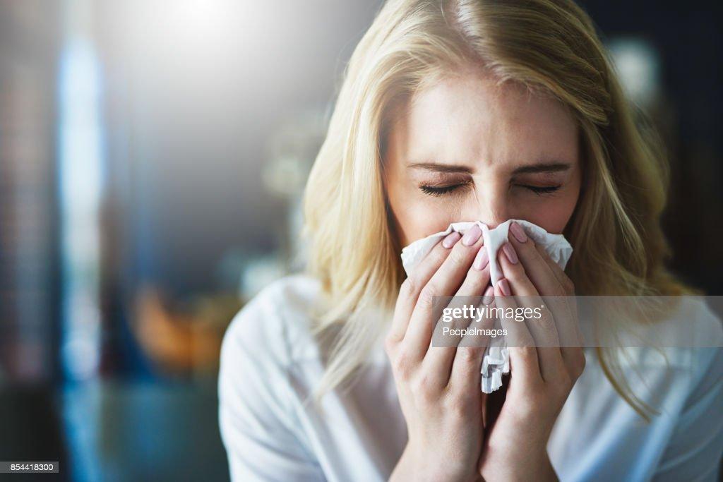 Ich hoffe, dass diese Grippe schnell weggeht : Stock-Foto