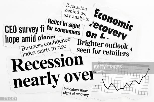 hopeful headlines concerning business confidence on white background - newspaper headline stock pictures, royalty-free photos & images
