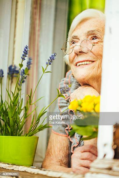 Hopeful senior woman