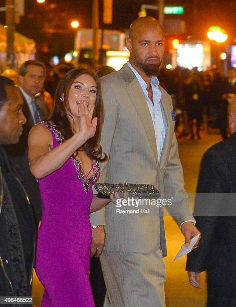 HopeSolo and Jerramy Stevens are seen outside Carnegie Hall in Midtown on on November 9 2015 in New York City