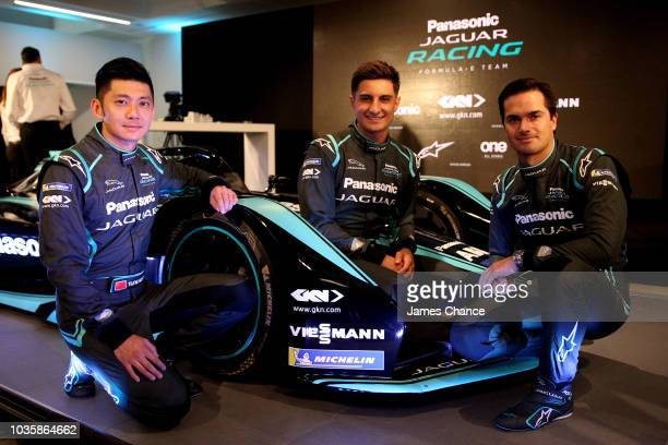 Ho-Pin Tung of Jaguar Racing, Mitch Evans of Jaguar Racing and Nelson Piquet Jr of Jaguar Racing pose with the new Jaguar I-type 3 during the Jaguar...