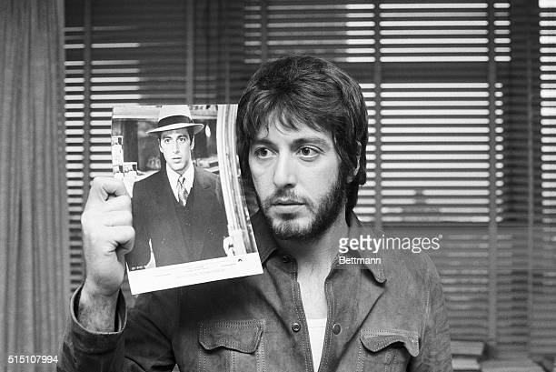 Hoping It'll Be His Night New York Al Pacino who's up for an Oscar for Best Supporting Actor in film The Godfather shows photo of himself from the...