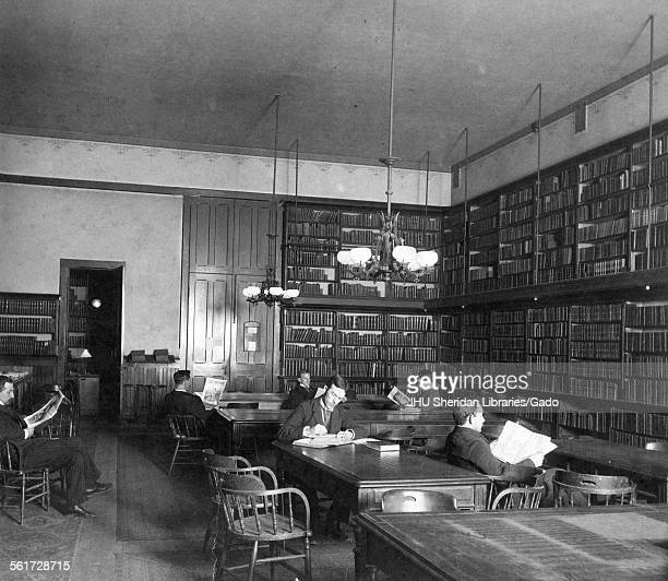 Hopkins Hall, Old Campus, Library, Old Campus interior, Library, with students reading, Johns Hopkins University, Baltimore, Maryland, 1892.