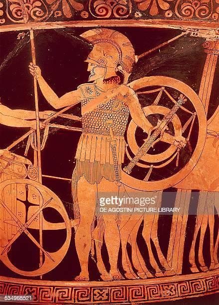 Hoplite, detail from red-figure pottery. Greek civilization, 5th century BC. Paris, Musée Du Louvre