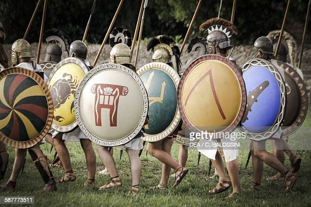 Hoplite phalanx Ancient Greece 7th century BC Historical reenactment
