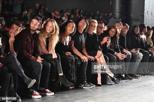 Hopper Penn Dylan Penn guest Stephen Gan and Yolanda Hadid attend Desigual fashion show during New York Fashion Week The Shows at Gallery 1 Skylight...