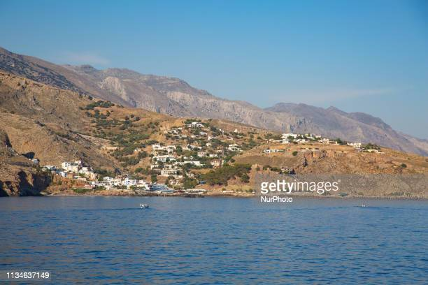 Hora Sfakion or Sfakia a popular little town on the south coast of Crete island in Greece touching the Libyan Sea in the Mediterranean It is the...