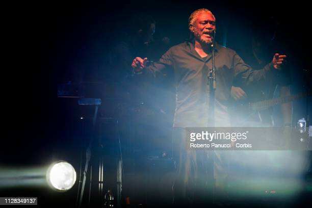 Horace Andy of the Massive Attack performs on stage at Palalottomatica on February 8 2019 in Rome Italy