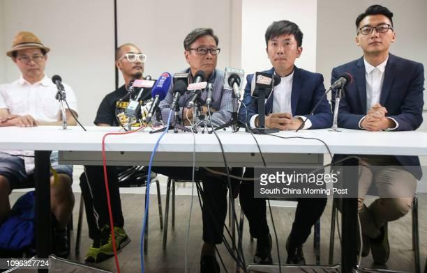Horace Chin Wankan Wong Yeungtat Raymond Wong Yukman Cheng Chungtai and Alvin Cheng Kammun attend a press conference after the 2016 Legislative...