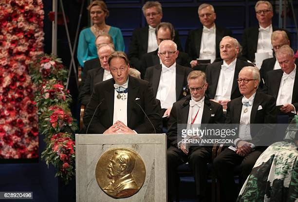 Horace Engdahl Member of the Swedish Academy and Member of the Nobel Committee for Literature gives a speech during the award ceremony of the Nobel...