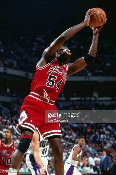 Horace Grant of the Chicago Bulls grabs a rebound against the Milwaukee Bucks during a game at Bradley Center on November 10 1993 in Milwaukee...