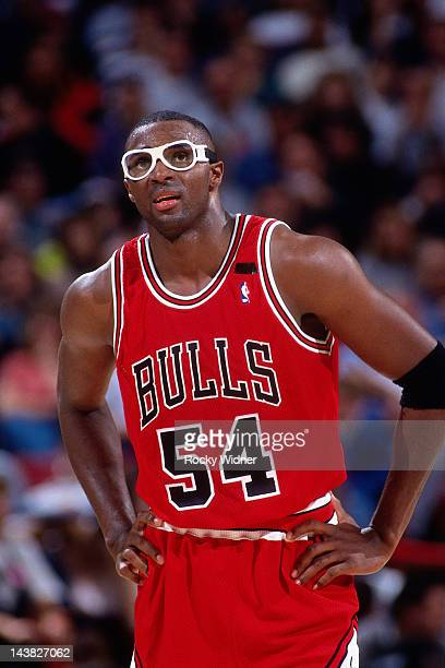 Horace Grant of the Chicago Bulls looks on against the Sacramento Kings on November 21 1993 at Arco Arena in Sacramento California The Sacramento...