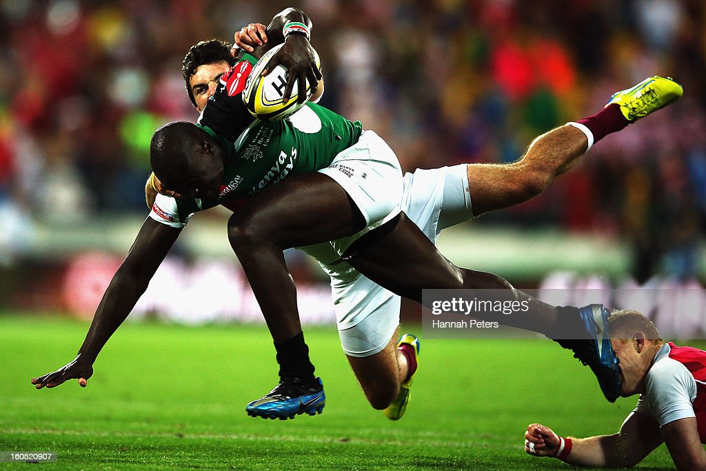 Horace Otieno of Kenya makes a break during the grand final between England and Kenya during the 2013 Wellington Sevens at Westpac Stadium on February 2, 2013 in Wellington, New Zealand.