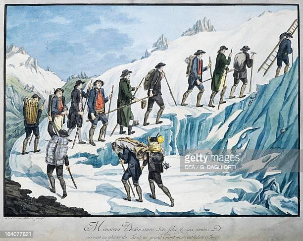 HoraceBenedict de Saussure climbing Mont Blanc engraving France 18th century Geneva Bibliothèque Publique Et Universitaire
