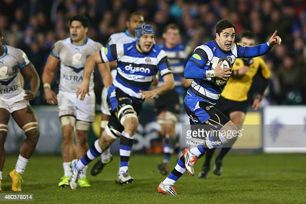 Horacio Agulla of Bath celebrates as he breaks through to score his sides fourth try during the European Rugby Champions Cup Pool Four match between...