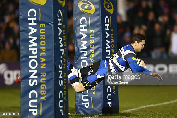 Horacio Agulla of Bath scores his sides fourth try during the European Rugby Champions Cup Pool Four match between Bath Rugby and Montpellier at the...