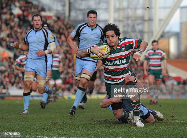 Horacio Agulla of Leicester Tigers scores the third try during the Aviva Premiership match between Leicester Tigers and Newcastle Falcons at Welford...
