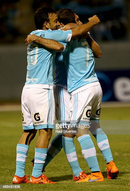Horacio Calcaterra of Sporting Cristal celebrates after scoring the second goal of his team against Cesar Vallejo during a 10th round match between...