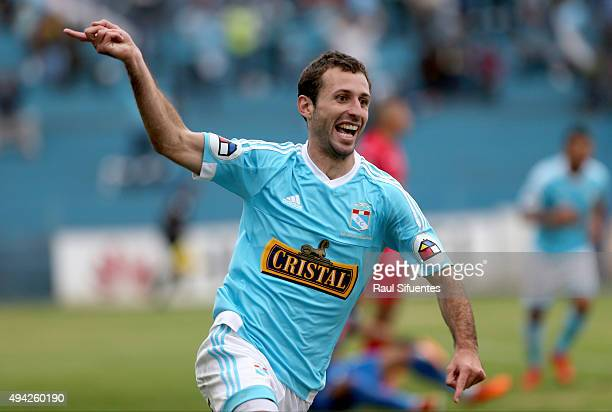 Horacio Calcaterra of Sporting Cristal celebrates after scoring the second goal of his team against Juan Aurich during a match between Sporting...