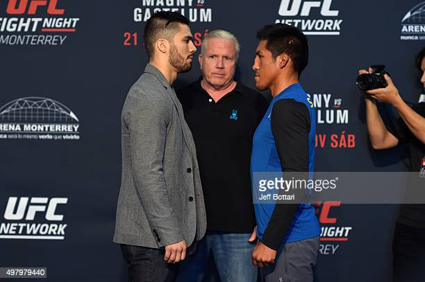 Horacio Gutierrez of Mexico and Enrique Barzola of Peru face off for the media during the UFC Fight Night Ultimate Media Day at the Sala...