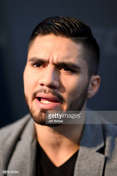 Horacio Gutierrez of Mexico interacts with the media during the UFC Fight Night Ultimate Media Day at the Sala MitsubishiParque Fundidora on November...