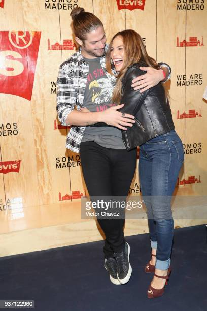Horacio Pancheri and Fabiola Campomanes attend the Levi's Flagship Madero store opening at historical center streets on March 22 2018 in Mexico City...