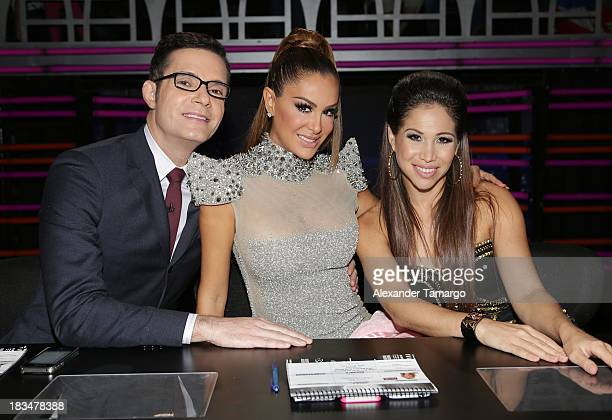 """Horacio Villalobos, Ninel Conde and Biana Marroquin are seen during Univision's """"Mira Quien Baila"""" dance competition at Univision Headquarters on..."""