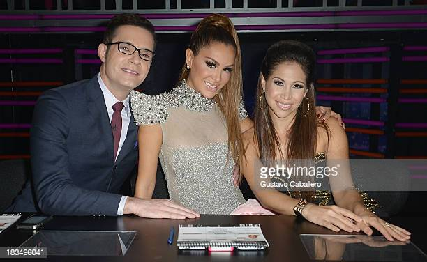 Horacio Villalobos Ninel Conde and Bianca Marroquin on the set of Univision's Mira Quien Baila at Univision Headquarters on October 6 2013 in Miami...