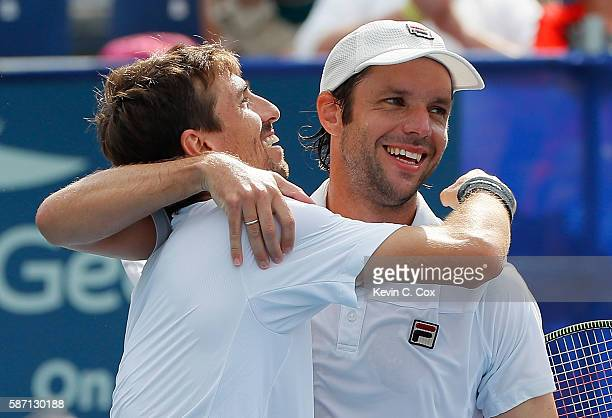 Horacio Zeballos and Andres Molteni of Argentina celebrate after defeating Johan Brunstrom and Andreas Siljestrom of Sweden during the finals of the...