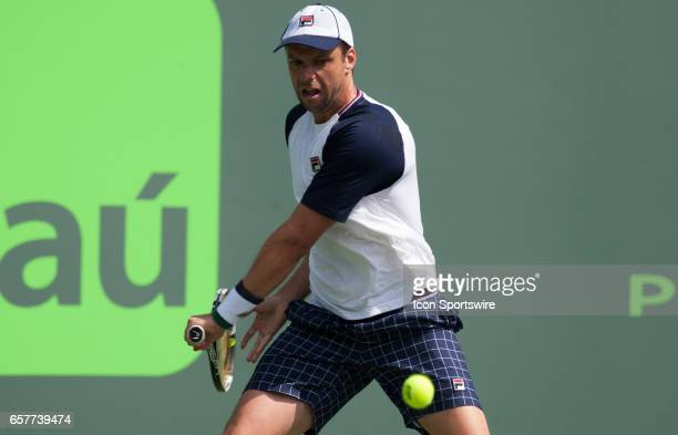 Horacio Zeballos in action during the 2017 Miami Open in Key on March 25 at the Tennis Center at Crandon Park in Biscayne FL
