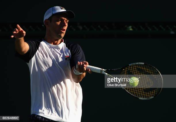 Horacio Zeballos of Argentia plays a forehand against Nick Kyrgios of Australia in their second round match during day seven of the BNP Paribas Open...