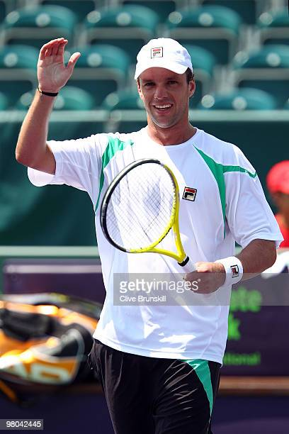 Horacio Zeballos of Argentina celebrates after defeating Andreas Seppi of Italy during day three of the 2010 Sony Ericsson Open at Crandon Park...